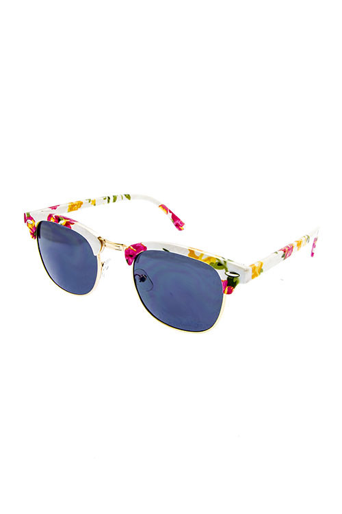 Floral Rim White Sunnies